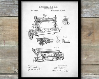 Sewing Machine Patent, Sewing Machine Print, Sewing Machine Poster, Sewing Machine Art, Sewing Machine Blueprint, Sewing Room Wall Art, P89