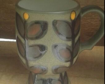 1970s ceramic pedestal mug