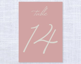 Dusty Rose Table Numbers Set of 10, 20, 30 or Printable File / Wedding and Event Table Numbers / #906