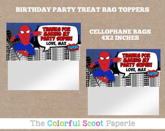 Spider-man Treat Bag Toppers, Spider-man Goodie Bags, Spider-man Candy Bag Toppers, Spider, Cellophane Bags, Spider-man (#655)