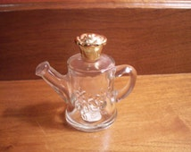 """Vintage Avon """"Roses, Roses"""" Clear Glass Watering Can Shaped Perfume Bottle"""
