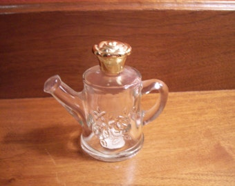 "Vintage Avon ""Roses, Roses"" Clear Glass Watering Can Shaped Perfume Bottle"