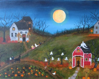 Halloween painting, TRICK or Treat,  folk art,  Ghosts Pumpkins Witches Original