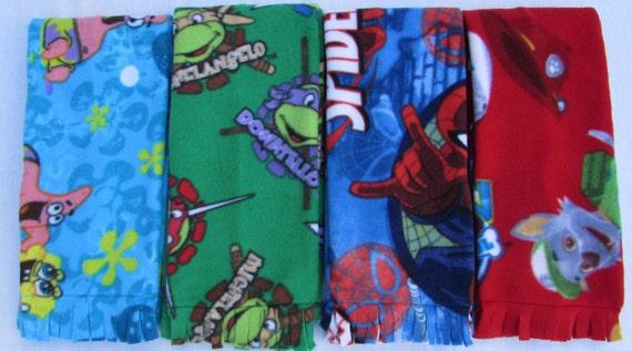 Boys fleece scarf/paw patrol scarf/spiderman scarf/sponge bob scarf/ninja turtle scarf/toddler fleece scarf/boys warm scarf