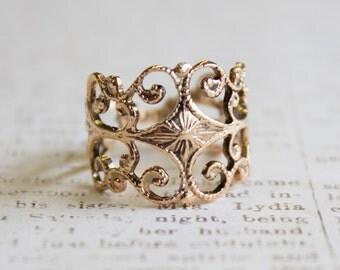 Vintage Filigree Ring Antiqued 18k Gold Plated Ring Edwardian Made in USA #R553