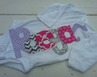 girls Personalized appliqued baby name onesie baby shower gift- pink purple and gray applique name onesie