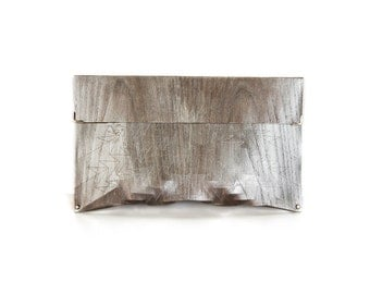 """eco wood clutch -  smoked chestnut - """"chestnut tree"""" - in silver"""