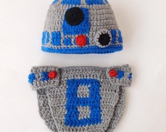 R2D2  Costume - Hat And Diaper Cover From Star Wars - Premie, Newborn, Child, Teen, Adult - Halloween / Cosplay Wig