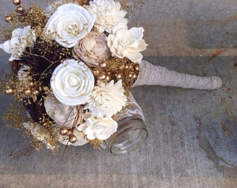 Rustic Ivory Sola Flower Bouquet, Wedding Bouquet Set, Natural and Elegant Custom Sola Flower Wedding Bouquets