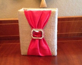 Burlap Fabric Photo Album Accented with Red Ribbon & Brooch