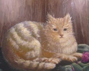 Original  Cat oil painting on wood