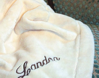 Monogrammed Micro Fleece Throw