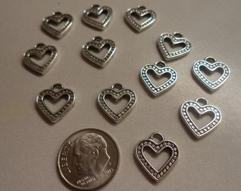 Silvertone pewter heart charms open  design 12 pc lot