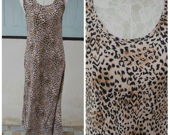 90's vintage leopard maxi dress size medium