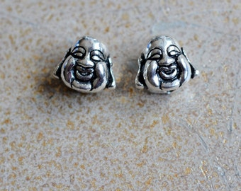 Happy Buddha Head Beads,Sterling Silver,Laughing Buddha,Double Sided,10mm,Fat Buddha Beads,Smiling Buddha Beads,Buddha Bead, Pairs,KP14-26