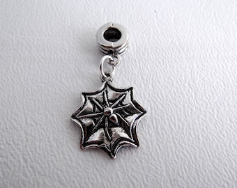 European Bracelet Charm Bead with Dangle, Silver Spider on Web, Sold Individually, Halloween, Large Hole Bead, Big Hole Bead, ID 241827182