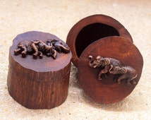 Handcrafted Wood Trinket Box Jewelry Boxes Vintage Set of 2