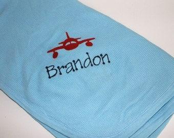 Baby Boy Airplane Thermal Waffle Weave Receiving Blanket, Embroidered Monogram Blanket