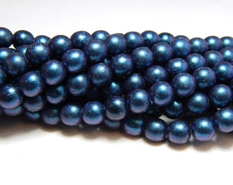 6mm Indigo Glass Pearls, 6mm Indigo Beads, Matte Indigo Beads, Indigo Pearls, 6mm Blue Beads, 6mm Pearls, Dark Blue Beads, Blue Beads T-093C