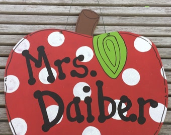Custom Personalized Teacher Red Apple Polka Dot Decoration Door Hanger - Hand Painted Wood