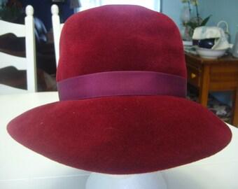 Vintage 1950s, Burgundy, Genuine Velour Hat
