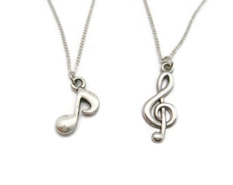 Music Note Necklace Set Best Friends Necklace  Mother Daughter Jewelry Treble Clef Necklace Quarter Note Necklace  Music Lovers Necklace Set