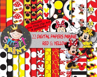 Digital Papers-Red Minnie Mouse-Digital Clip Art-Patterns for box,wrappers,banner-Birthday-Shower party.