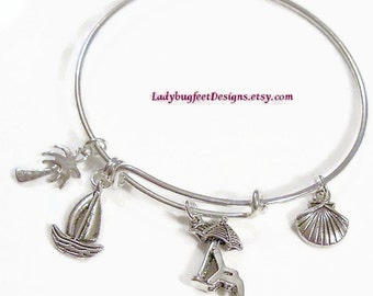 BEACH VACATION Adjustable Wire charm bangle,Alex and Ani Inspired,Tibetan Silver charm Bracelet,One Size Fits Most