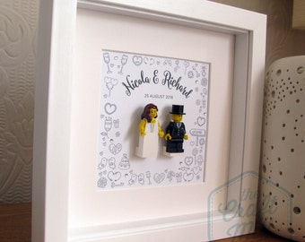 0001LW Bride & Groom LEGO® Wedding customisable Wall Art Frame