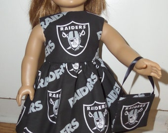 "New Raiders NFL Football Dress with Headband and Purse Fits 18"" American Girl Dolls"
