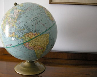 "9"" Terrestrial World Globe by George Cram Co. (USA)"