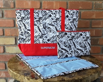 Superman Black and White Comic Book Personalized Diaper Bag Tote Set Red Bottom Matching Clutch and Changing Pad