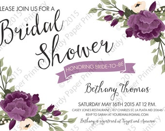 Plum Floral Bridal Shower Custom Invitation
