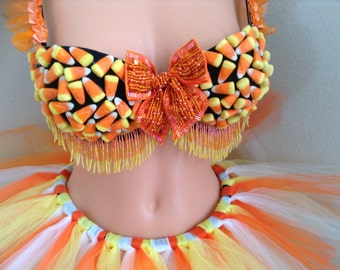 Adult Candy Corn Costume 34C ~Halloween Costume,Fall,Autumn,Thanksgiving,Cosplay,Rave.