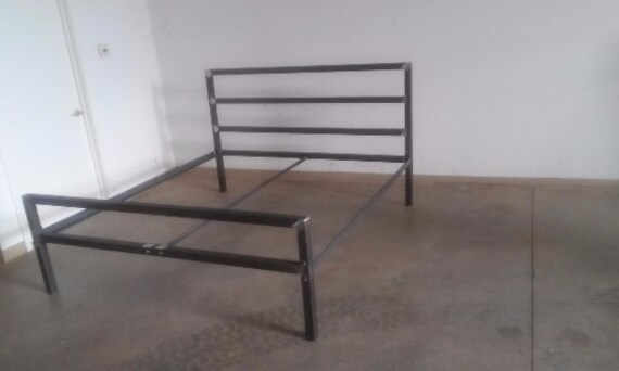 industrial steel bed frame twin queen king free shipping. Black Bedroom Furniture Sets. Home Design Ideas