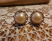 Vintage Metal Screwback Clear Rhinestone Accented Domed White Cream Ivory Pearl Button Earrings