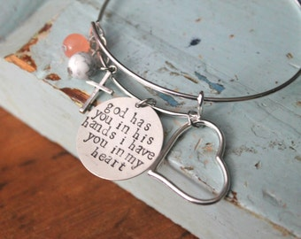 "Miscarriage Keepsake, Remembrance Bracelet, Memorial Bangle, Child Loss, Infant Loss, ""God has you in his hands i have you in my heart"""