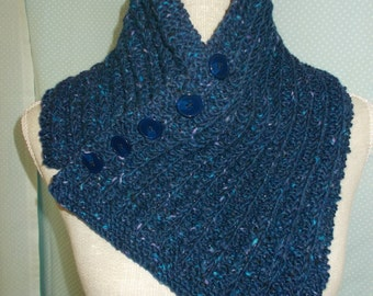 Navy Buttoni Scarf in 100% Donegal Tweed wool.