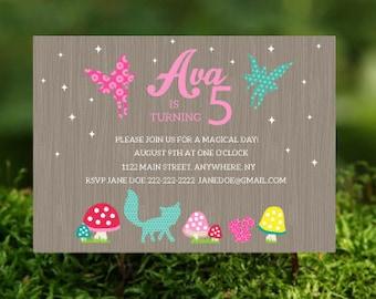 Woodland Fairy Birthday Invitation- Woodland Fairy Party Printables- Woodland Fairy Theme- Woodland Fairy Invitation