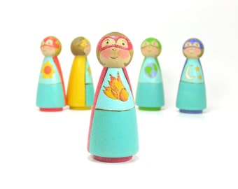 XL Boy or Girl Space Hero in Red, Single figure, educational toy, wooden kids toy, wooden peg people, space toy, handmade kids