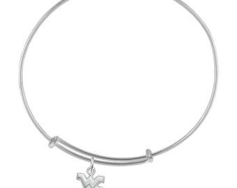 West Virginia Mountaineers Sterling Silver Adjustable Bangle Bracelet, WVU Jewelry