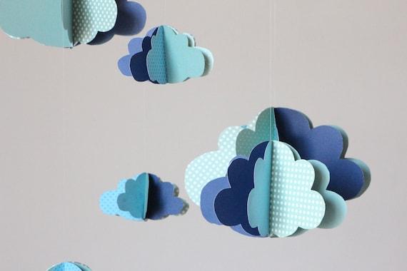 Guirlande Origami Chambre Bebe : Mobile nuages 3D + guirlande nuages ...