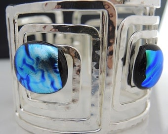 Alluring Dichroic Silver Plated Cuff Clamper Bracelet Size Med dr11