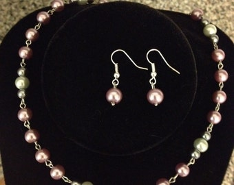 Purple gray off white pearl silver beaded necklace earrings set