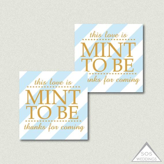 Mint to be Favor Tags, Blue, Mint Favors, Printable Wedding Favor ...