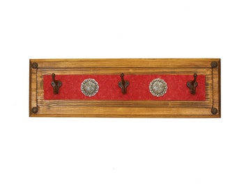 Red Ranch Hat Rack- Rustic -Wood-Western-Cowboy-Coat Rack--Leather-Tooled-26x8x5-Iron Medallions-Silver Conchos
