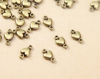 50 pcs 10x5.5MM Antique Bronze  heart, Mini Heart Connector Link Charms Pendant  Charm Pendant pendantshs, connector ABc01