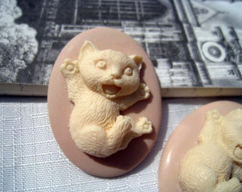 2pcs 30x40mm pad Lovely 3D Resin Cat cameo Cabochon RO08a