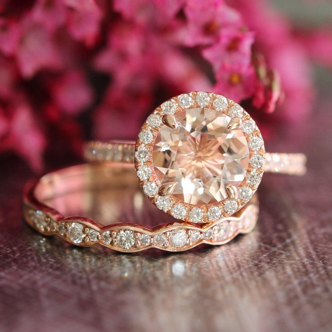 morganite engagement wedding ring set rose gold halo diamond. Black Bedroom Furniture Sets. Home Design Ideas