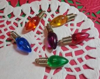 Christmas Light Charms/Pendants/Decor/Ornament/Embellishment - 12pc - 23mm- Plastic/Resin